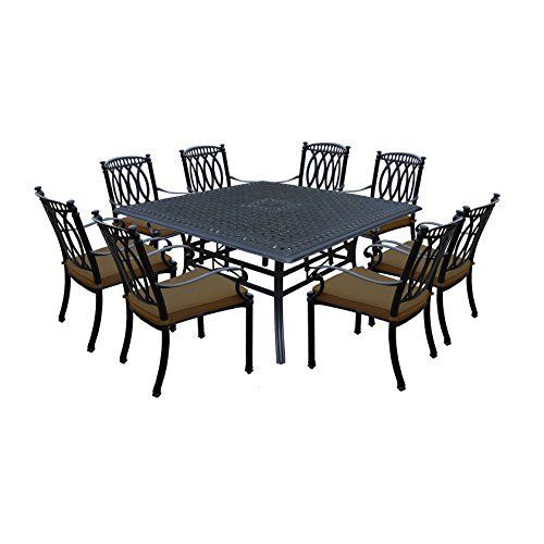 Save on Ice Cooler Carts Morocco 9 Piece Dining set with Square Table and 8 Stackable Dining Chairs with Sunbrella Cushions Antique Black and more  Save on Ice Cooler Carts Morocco 9 Piece Dining set with Square Table and 8 Stackable Dining Chairs with Sunbrella Cushions Antique Black and more  Expires Oct 27 2017