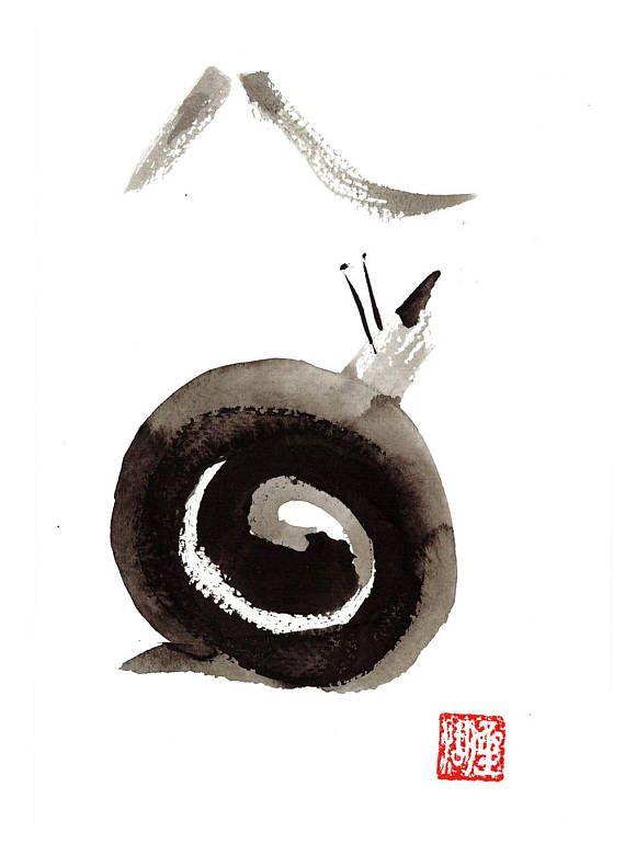 A little snail climbs Mount Fuji. Zen Brush Painting by zenbrush.etsy.com Free shipping in December