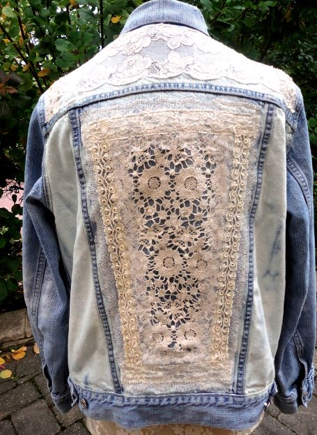 Upcycled jeans jacket with antique lace samples by daughter/mother design team for Stubborn Jeans.