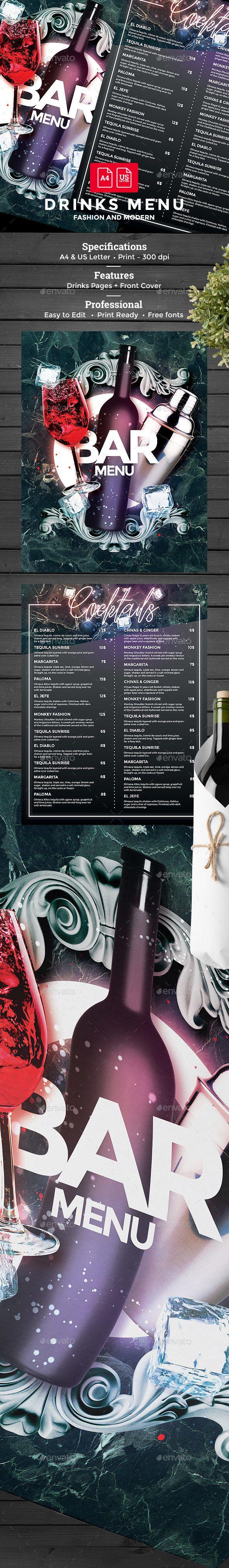Cocktail Drinks #Menu - #Food Menus Print #Templates Download here:  https://graphicriver.net/item/cocktail-drinks-menu/19515115?ref=alena994