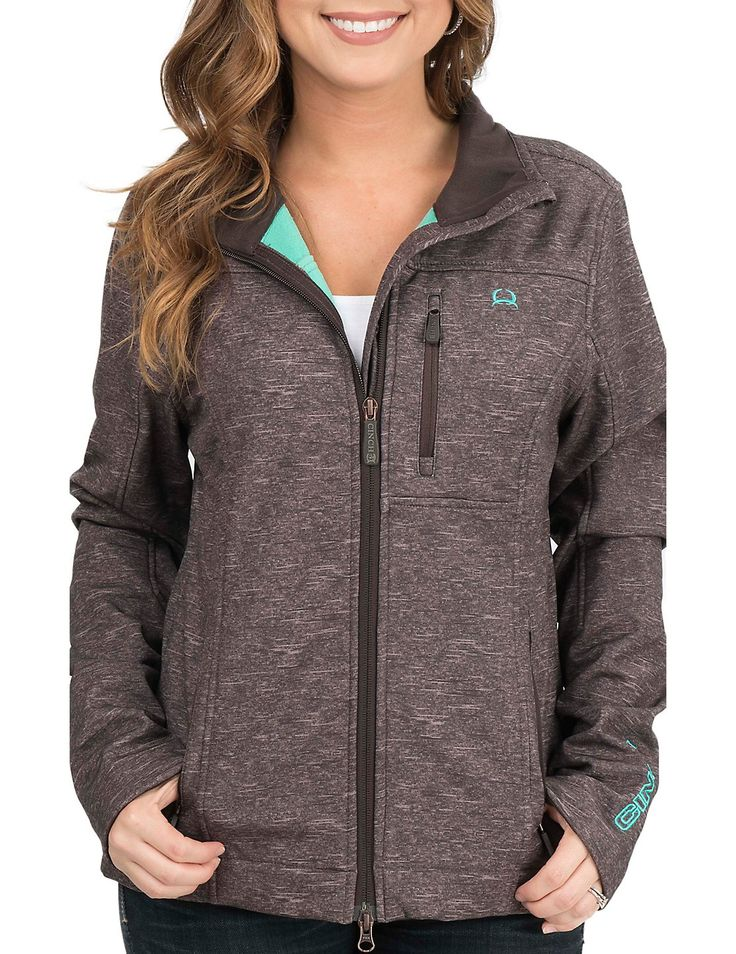 Cinch Women's Brown with Turquoise Accents Bonded Softshell Jacket | Cavender's