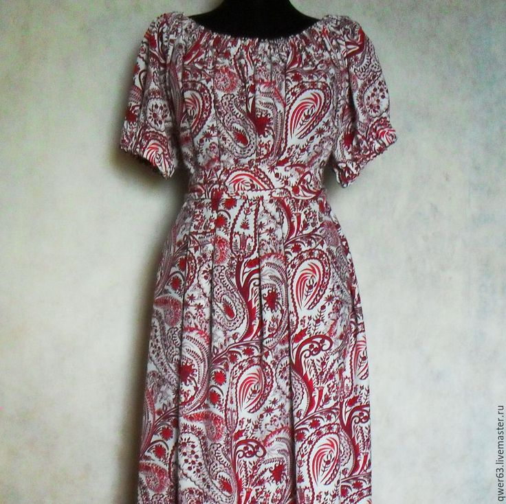 Купить Платье длинное,летнее,размер универсальный,из штапеля - ярко-красный, пейсли, платье