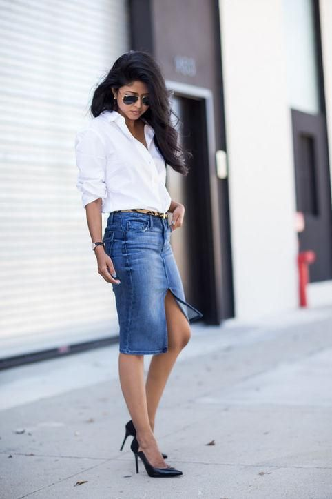 Fresh ways to wear a denim skirt this fall - click for 50 outfit ideas we love