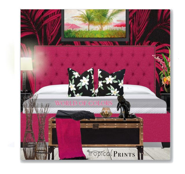 """Tropical Pink & Black Bedroom"" by leanne-mcclean ❤ liked on Polyvore featuring interior, interiors, interior design, home, home decor, interior decorating, Home Decorators Collection, Americanflat, Southern Enterprises and Kenroy Home"