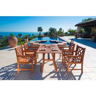 DropshipVendorGroup V189SET1 Malibu Eco-Friendly 5-Piece Wood Outdoor Dining Set. Assembly - Some assembly required. Item type - Patio Dining Set. Style - Traditional. Number of pieces in set - 1 table and 4 armchairs. Finish - Oiled rubbed.