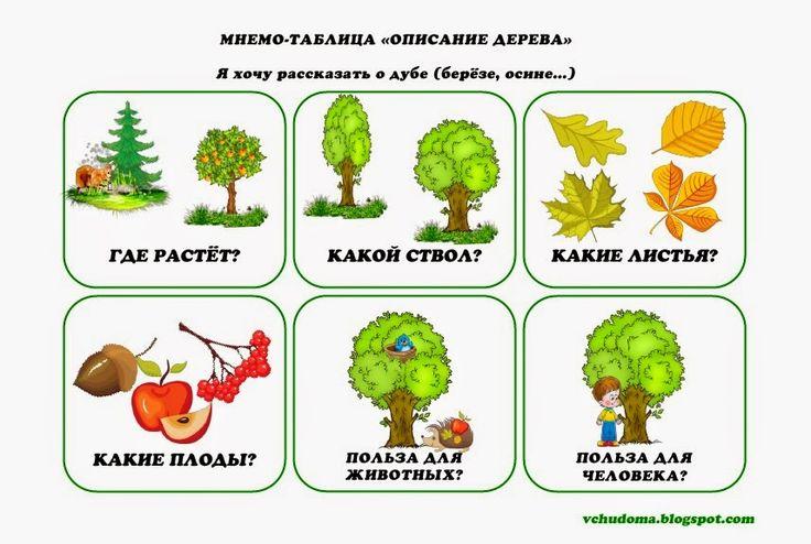 """Учу дома: Мнемотаблица для составления описательного рассказа на тему """"Деревья"""""""