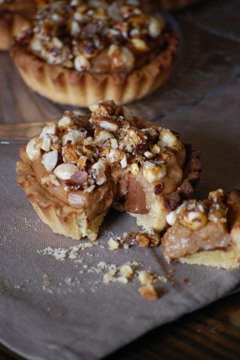 Tartelettes nutella, crème praliné et noisettes caramélisées
