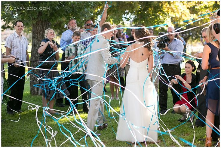 http://pinterest.com/pin/470837336012947702/ #Streamers as #confetti is a good alternative.  Just watch out for it getting wet and staining your #wedding #dress See more of this wedding on our blog http://www.zara-zoo.com/blog/wedding-at-kaleo-in-ceres/
