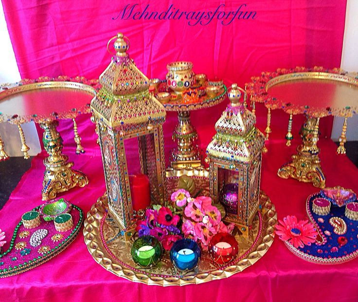 Mehndi Decoration Ideas Dailymotion : Moroccan themed mehndi plates and lanterns collection e
