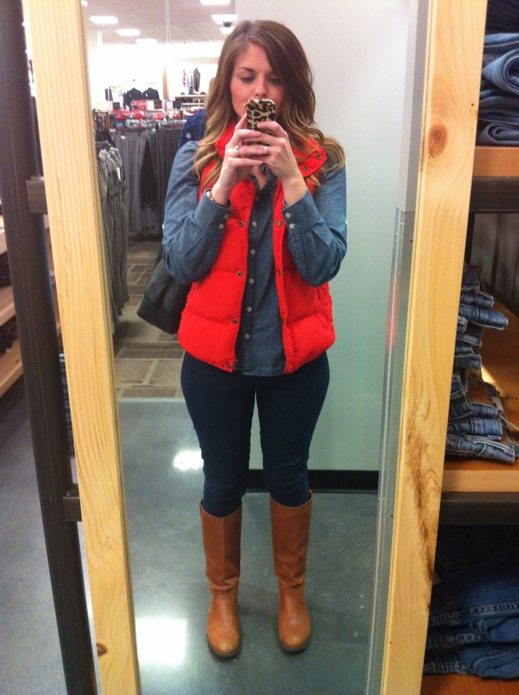 Red puffer with denim - wear my duck boots instead
