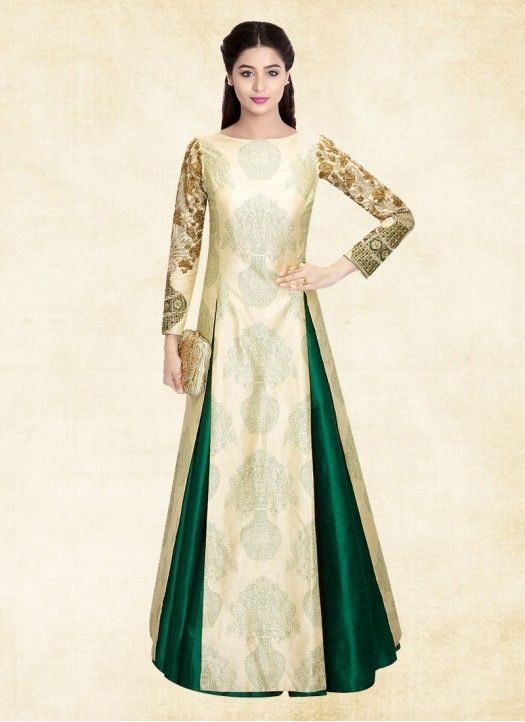 New Designer Cream and Green Heavy Embroidery Indo Western