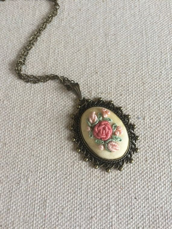 Embroidered flower pendant Pink rose necklace by RedWorkStitches