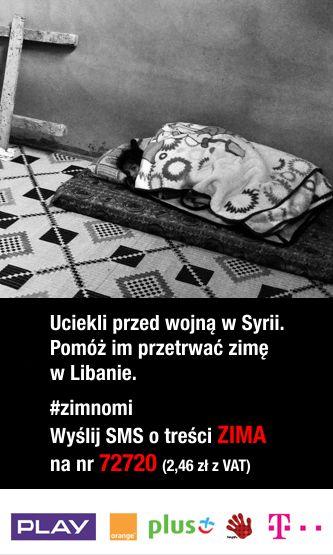 #zimnomi Wyślij SMS o treści ZIMA na nr 72720 za 2,46 zł i #oddajcieplo, tym którzy potrzebują. #Syria #Ukraina