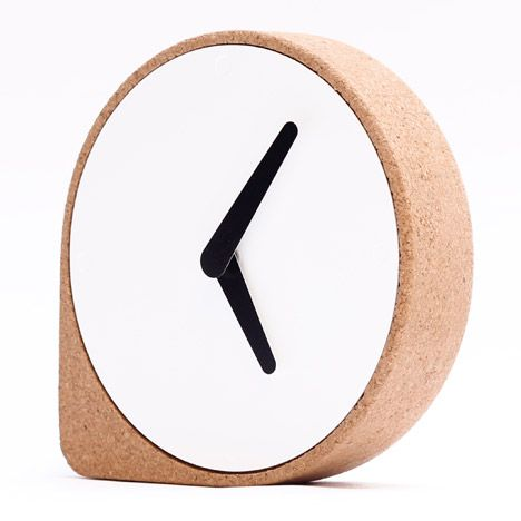 A cork corner stops this minimal clock from rolling away.