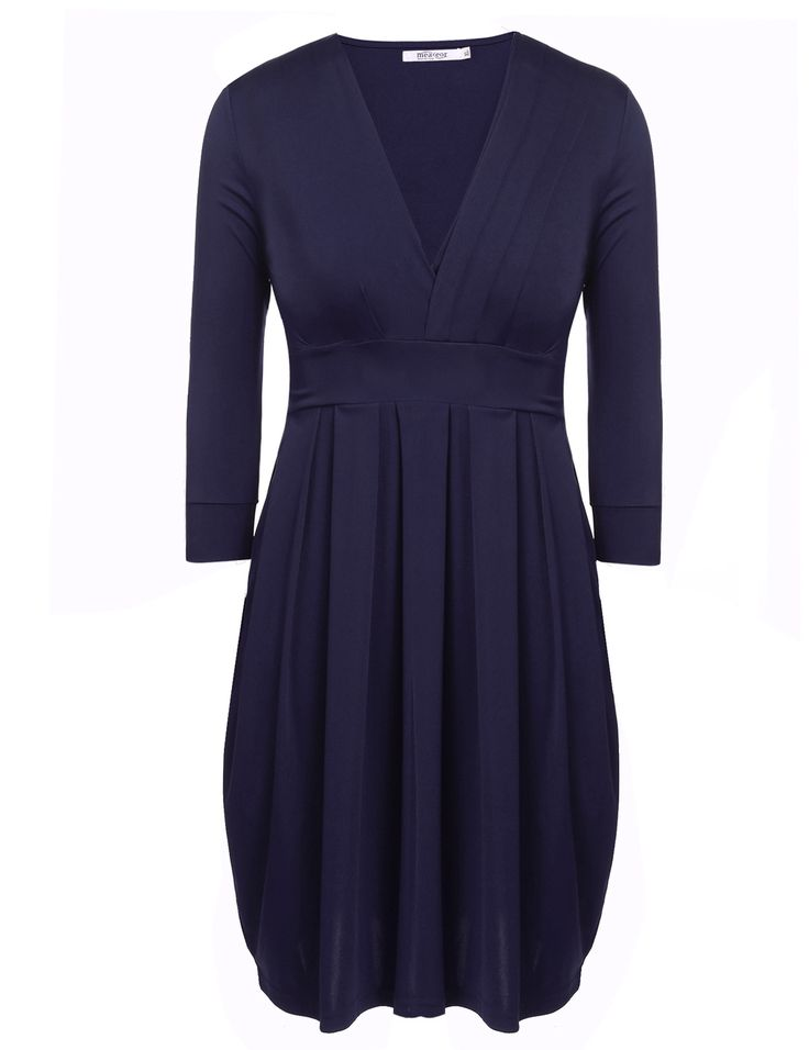 Blue Sexy V-Neck Three Quarter Sleeve Solid Pleated Plus Size Pullover Asymmetrical Casual Dresses