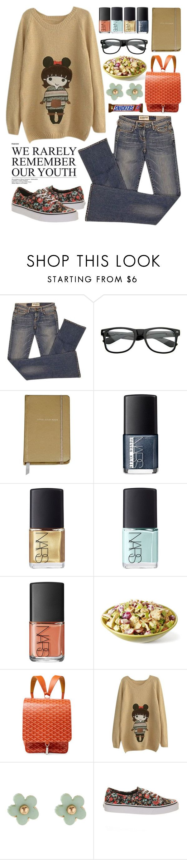 """Glasses Girl"" by boxthoughts ❤ liked on Polyvore featuring Elizabeth and James, Kate Spade, NARS Cosmetics, Goyard, Accessorize and Vans"