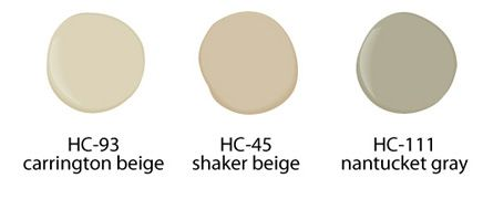 Refresh your home with paint colors from Benjamin Moore: carrington beige, HC-93; shaker beige, HC-45; and nantucket gray, HC-111.: Wall Colors, Colors Pallets, Carrington Beige, Neutral Paintings Colors, Paintings Ideas, Shakers Beige, Colors Palettes, Paint Colors, Benjamin Moore Paint