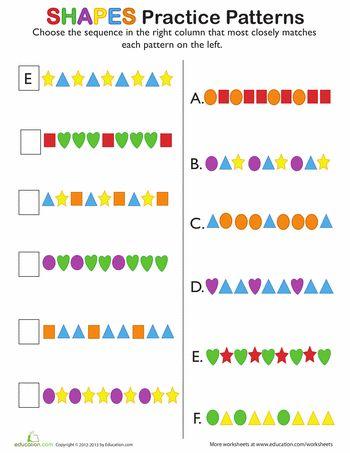 Pre School Worksheets : pattern challenge worksheets Pattern ...
