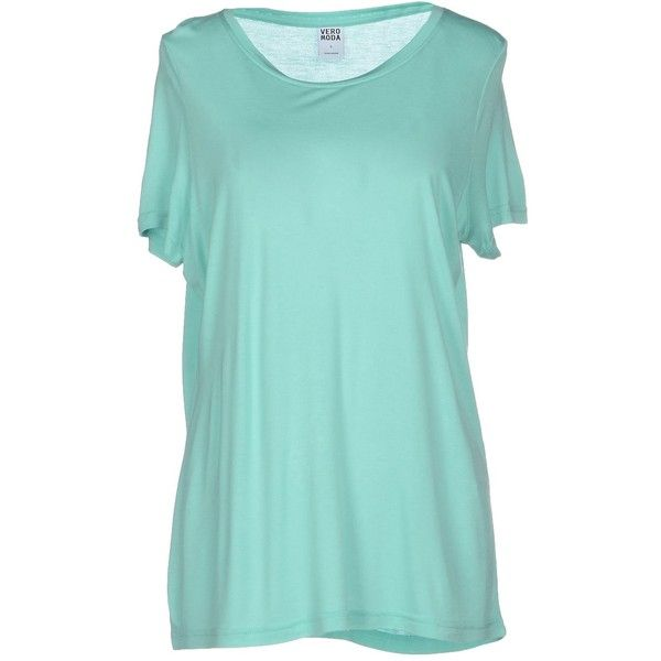 Vero Moda T-shirt (215 DKK) ❤ liked on Polyvore featuring tops, t-shirts, light green, short sleeve tee, short sleeve t shirts, blue short sleeve top, blue tee and vero moda