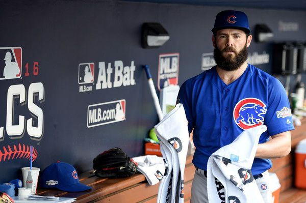 Jake Arrieta Photos Photos - Jake Arrieta #49 of the Chicago Cubs in the dugout before taking on the Los Angeles Dodgers in game three of the National League Championship Series at Dodger Stadium on October 18, 2016 in Los Angeles, California. - NLCS - Chicago Cubs v Los Angeles Dodgers - Game Three
