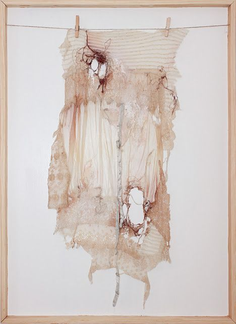 """Her Tattered Covering, from theSpills and Coverings Series  By Deeann Rieves  machine embroidery, lace and acrylic; 48"""" x 35""""; 2010"""