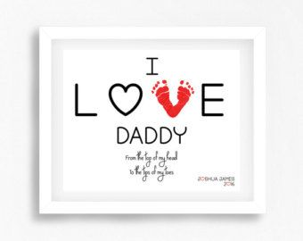 Father Son Gift, Gift for Dad from Daughter, Valentines Gift for New Dad, Newborn Baby Girl Gift Daddy, Footprint Gift for Daddy from Baby by PerfectLittlePrints