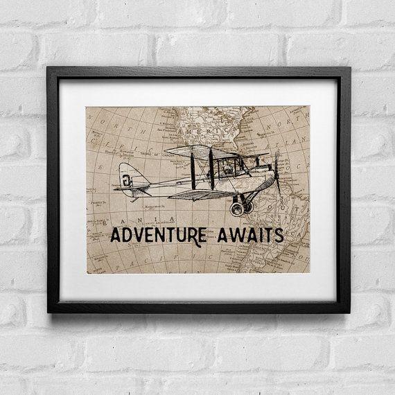 Adventure Awaits Print, Vintage Airplane Nursery, Adventure Awaits Map Wall Art…