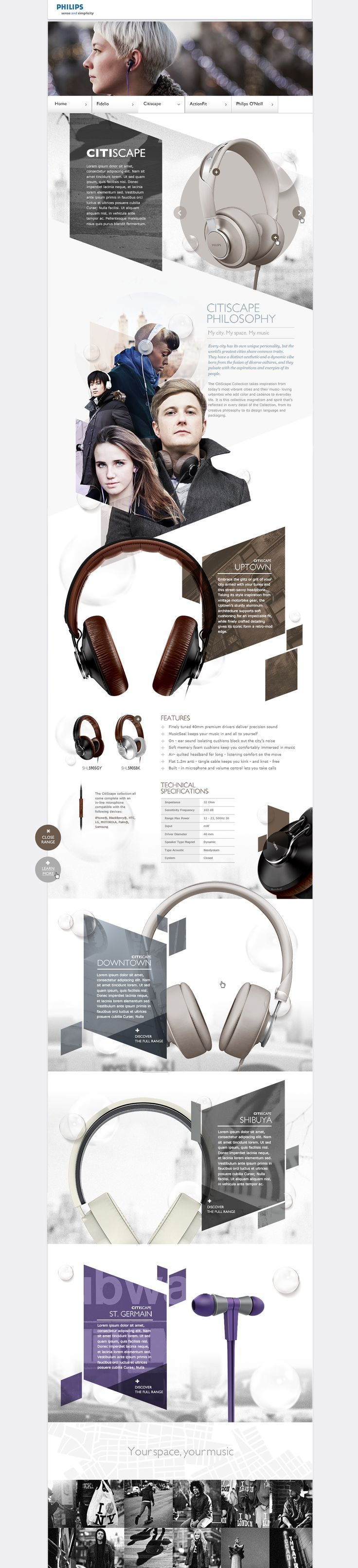 Philips site design. Awesome use of geometric design - the modern vibes go perfectly in the audio technology context.