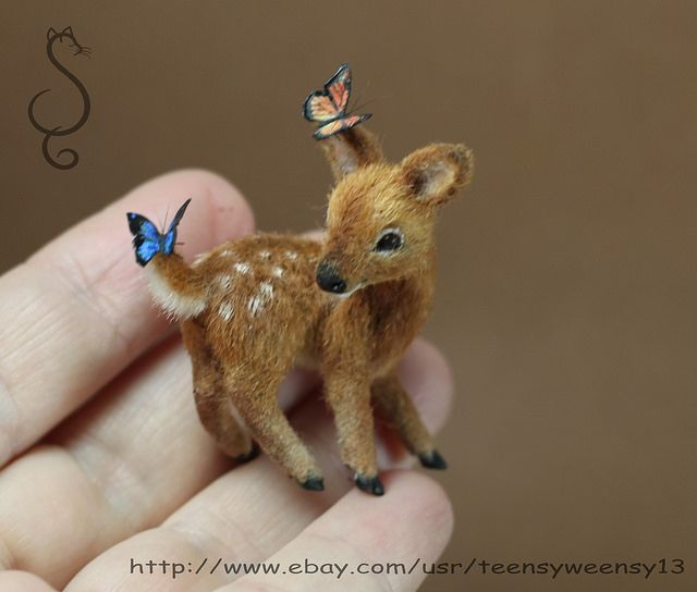 OOAK Dollhouse MIniature flocked Fawn with butterflies by Tina449 on Flickr.
