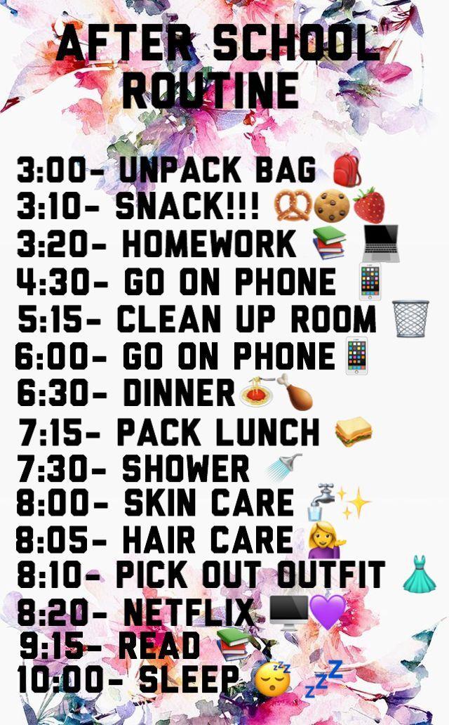 Stundenplan nach der Schule
