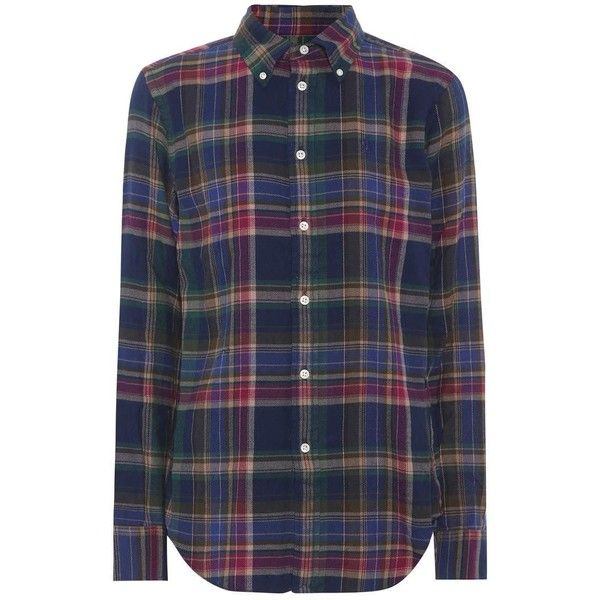 Polo Ralph Lauren Plaid Cotton Shirt ($140) ❤ liked on Polyvore featuring tops, blue, blue cotton shirt, cotton plaid shirt, cotton shirts, plaid top and plaid shirts