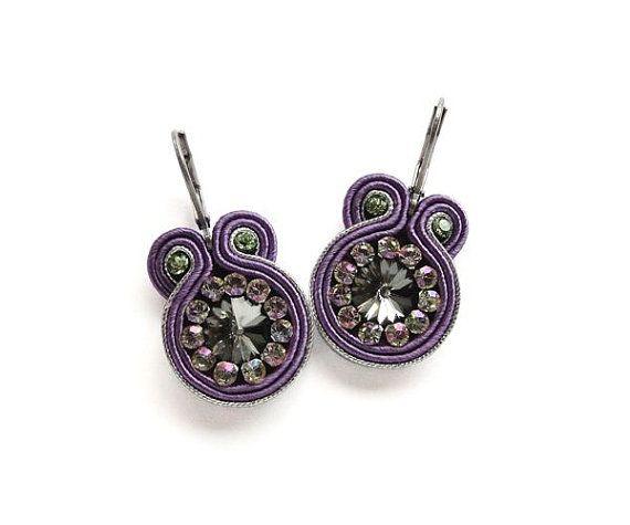 soutache earrings statement jewelry purple and green