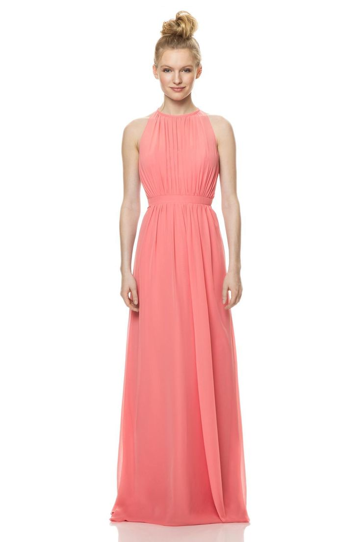 Buy cheap strapless floor length chiffon coral bridesmaid dress - 2015 The New Coral Bridesmaid Dresses With High Collar Folds Formal Floor Length Chiffon Dress