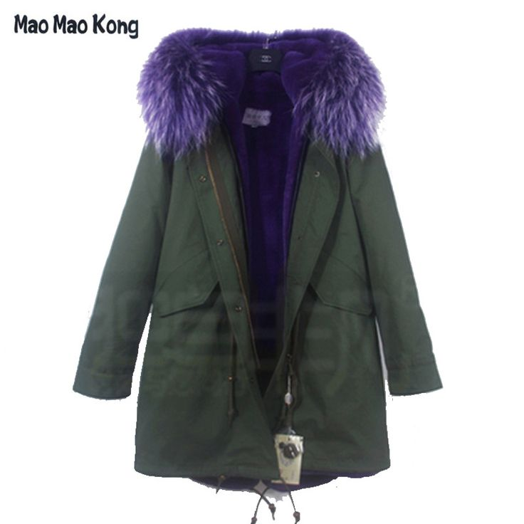 356.88$  Buy here - http://ali4i0.shopchina.info/1/go.php?t=32764859340 - Women Real Fur Raccoon Fur Collar Hooded Army Green Jacket Lady Long Parka 2017 New Winter Coat Women's Fur Hood Parkas New  #magazineonlinebeautiful
