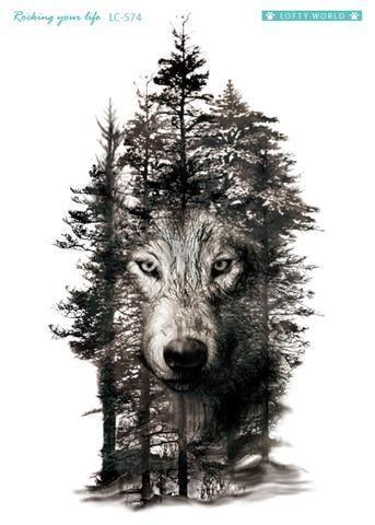 Wolf In Trees Tätowierung – Devan – #Devan #Tattoo #Temporary #Trees #wolf