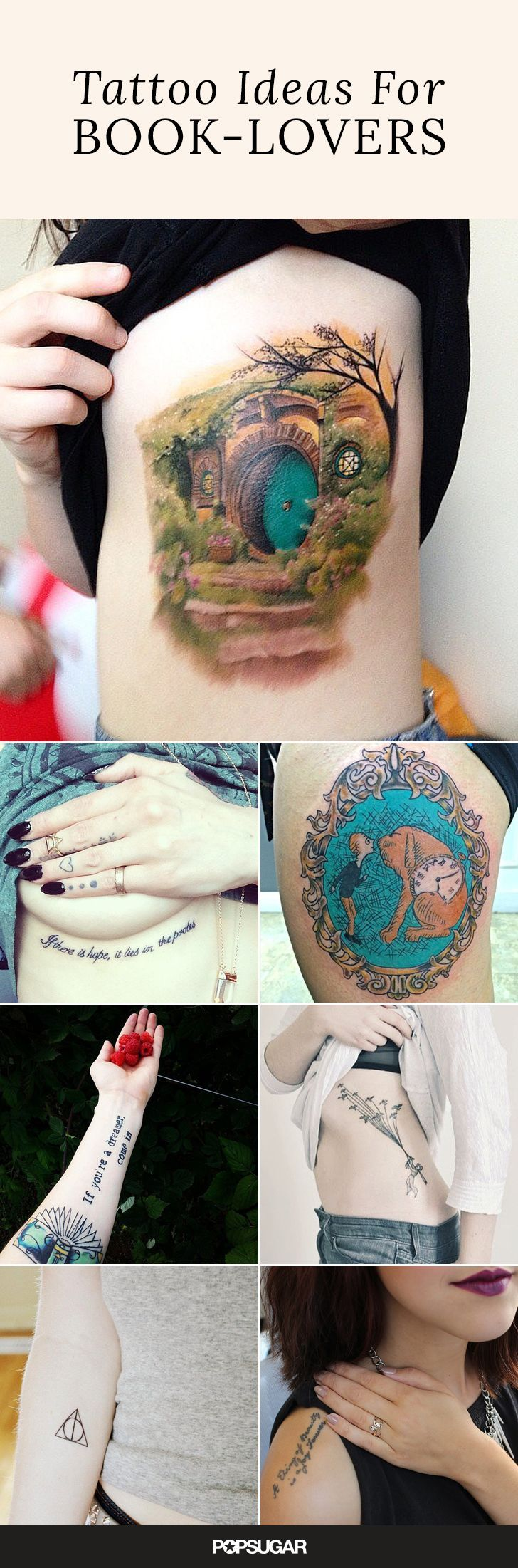 Tattoos based on books are a beautiful way of keeping our favorite literary memories, characters, and quotes alive even after we've turned the last page. We've rounded up some artistic interpretations of famous works. Read 'em and weep!