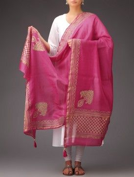 Fuschia-Golden Khari Printed Chanderi Dupatta