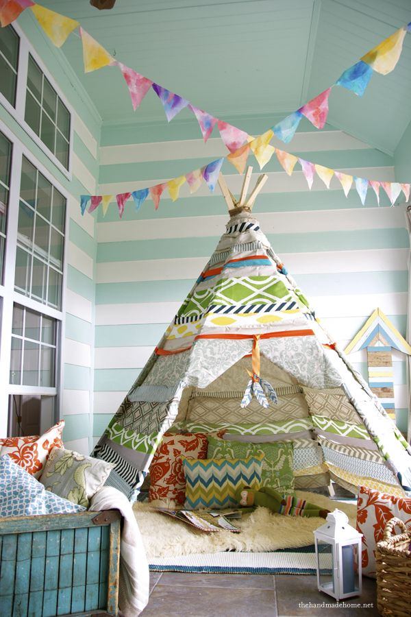 diy teepee - the fabric is strips of leftovers that is hot glued together. Grandkids would love this