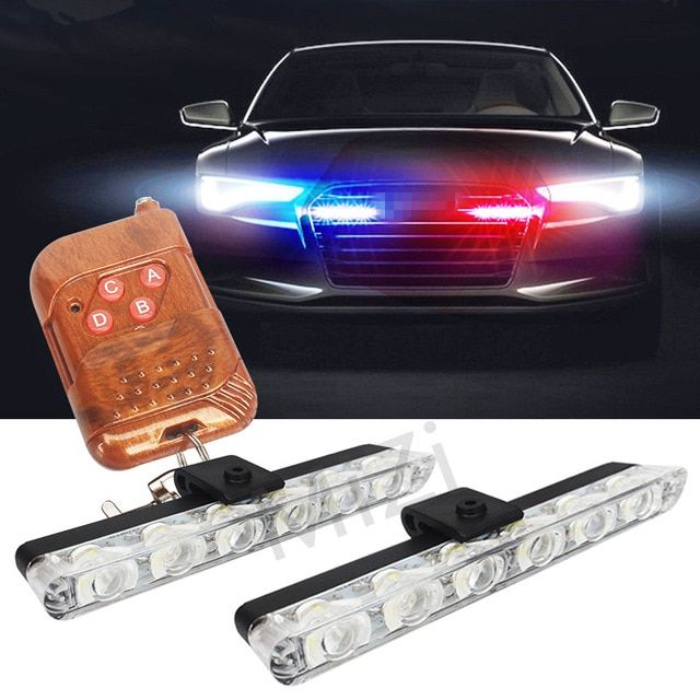 2x6 LED Wireless Remote Strobe Warning Lights 12V Car Work
