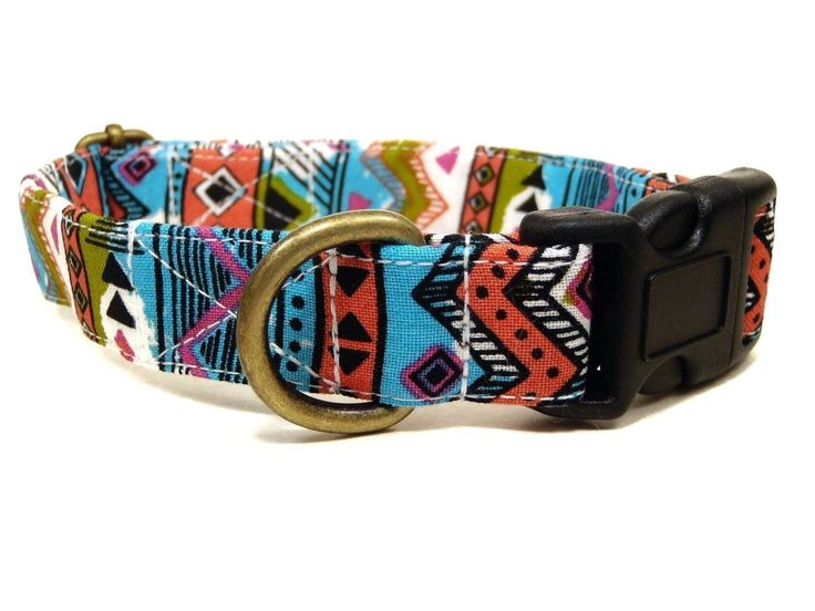 Ancient Echoes - Blue White Olive Green Salmon Black Bohemian Southwestern Aztec Unique Organic Cotton Pet Collar - Handmade in the USA * Want to know more, click on the image. (This is an affiliate link and I receive a commission for the sales)