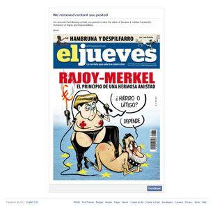 Facebook veta una portada de 'El Jueves' con Merkel y Rajoy