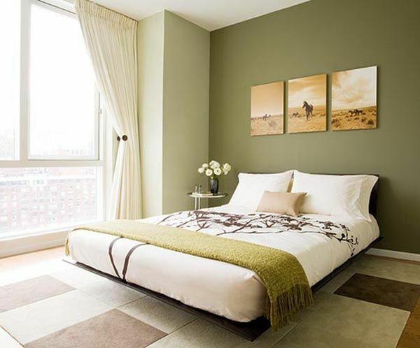 schlafzimmer in grünen farbtöne wandgestaltung