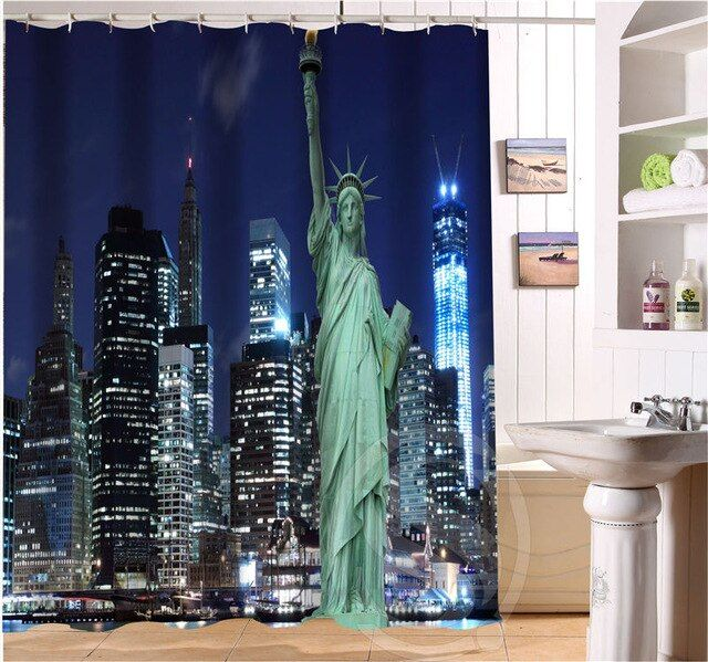 Cool Shower Curtains Statue Of Liberty New York City Night In 2020