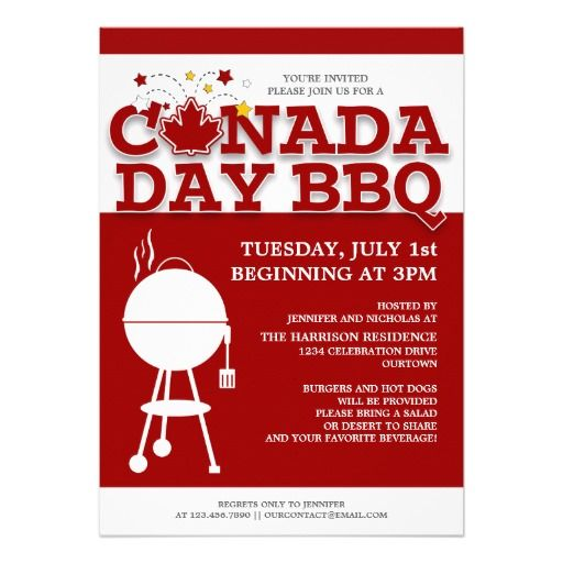 Canada Day BBQ Party Invitations