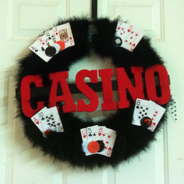 Casino party wreath. Maybe not quite so fuzzy a good start for ideas.