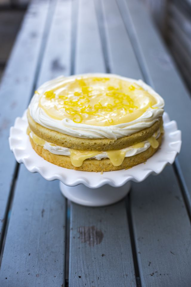 Lemon Curd Cake...The perfect balance of sweet sponge cake with a tangy lemon curd filling! | DonalSkehan.com