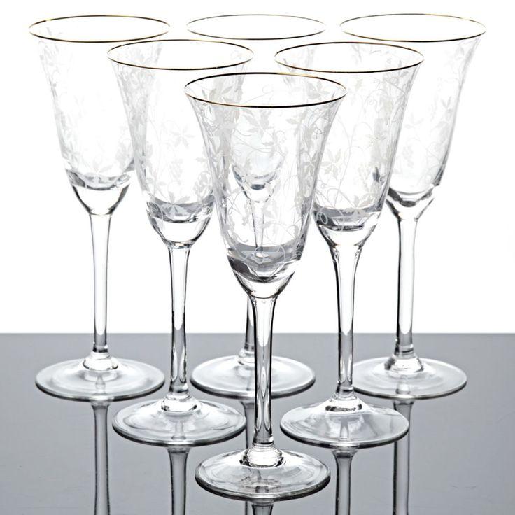 6 Sektgläser Spiegelau Rüdesheim Goldrand Weinlaub Ätzdekor Glas 50er Vintage