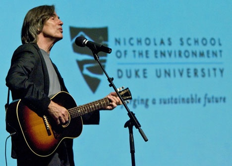 """Durham, NC - Before about 250 people in Page Auditorium, singer Jackson Browne performed and told stories of his environmental activism in accepting The Duke LEAF Award for Lifetime Environmental Achievement in the Fine Arts Saturday.    The award is presented by the Nicholas School of the Environment to an artist whose work conveys our connection to the earth and inspires others to study and help forge a more sustainable life.    Browne was cited for """"his extraordinary body of work as a…"""