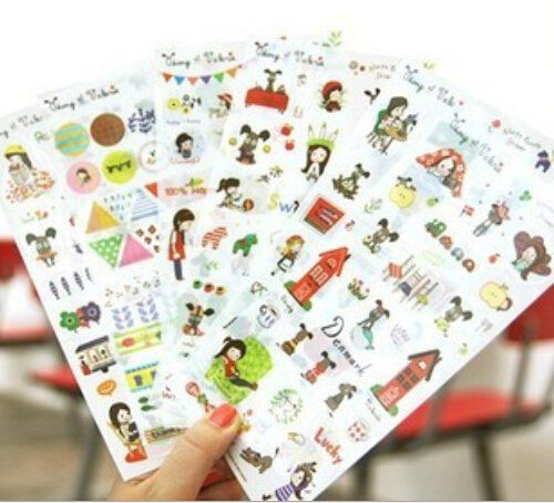 6 sheets DIY Scrapbooking Paper Cute Dog PVC Diary Photo Album Stickers Wedding Decoration Sticker OFFICE317 ** Be sure to check out this awesome product.Note:It is affiliate link to Amazon.