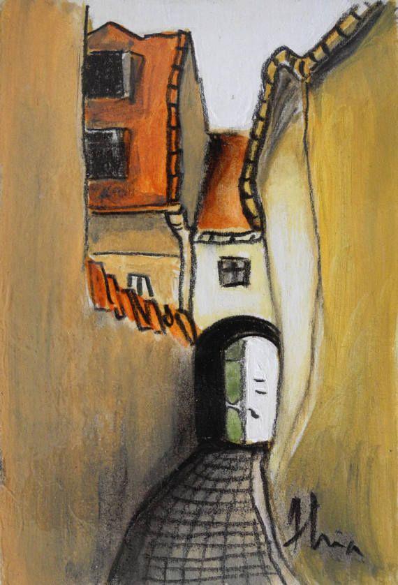Art digital print of a painting depicting the medieval narrow street in Sibiu, Romania.  Vvv